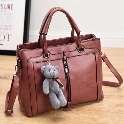6492 Elegant Double layer Handbag With Bear (Light Red)