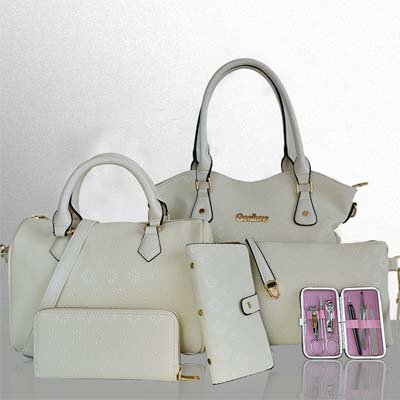 6498 6 in 1 Flower Print Bag (White)