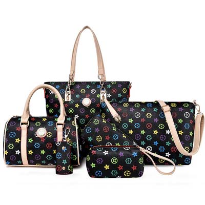 6499 6 in 1 Classic Pattern Bag (Black)