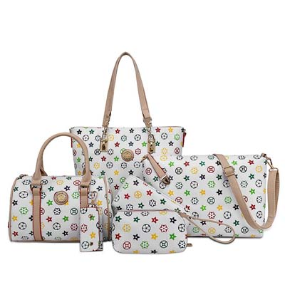 6499 6 in 1 Classic Pattern Bag (White)
