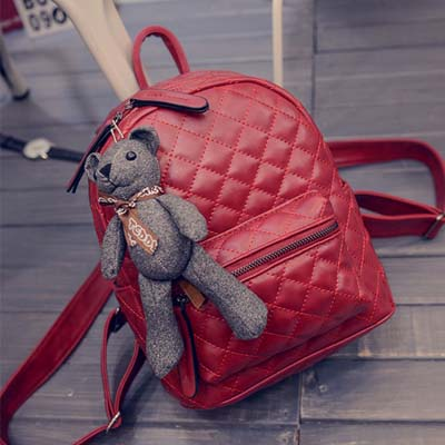 6523 Elegant Backpack With Bear (Red)