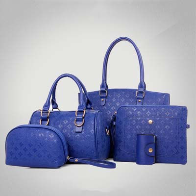 6536 5 in 1 Flower Print Bag (Blue)
