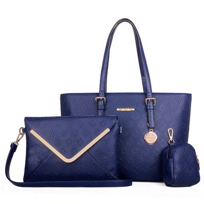 6559 3 in 1 Elegant Flower Print Envelope Bag (Blue)