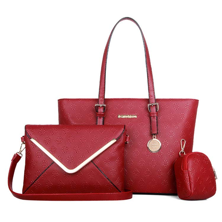 6559 3 in 1 Elegant Flower Print Envelope Bag (Maroon)