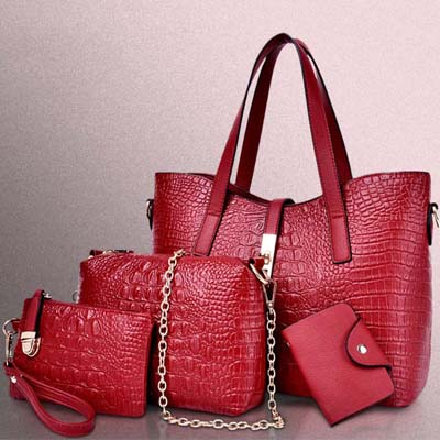 6564 4 in 1 Crocodile Skin Bag (Maroon)