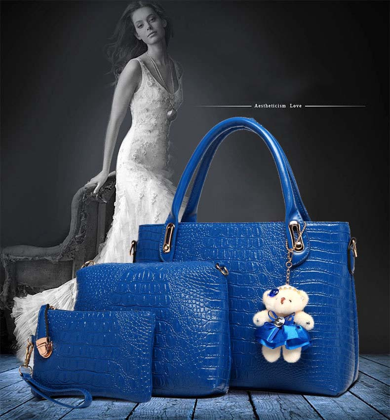 6746 Fashion 3 in 1 Handbag With Bear (Rose)