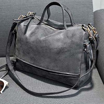 6749 Elegant Suede Leather Sing Bag (Grey)