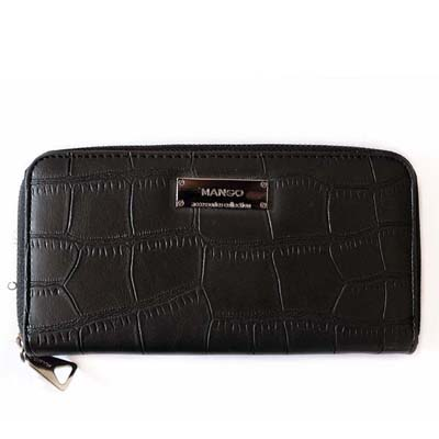 MNG6741 Crocodile Skin Purse (Black)
