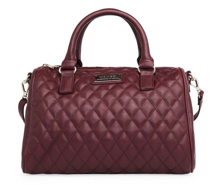 MNG6877 Premium Quality Handbag with gold logo (Maroon)