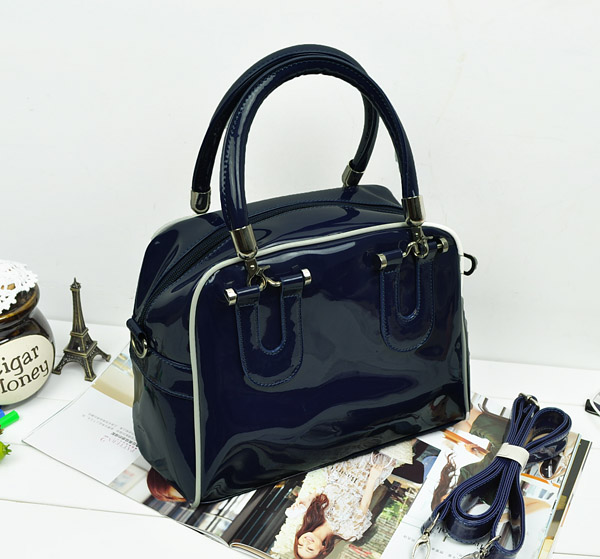 1287 Patent Leather Shoulder Bag (Dark Blue)
