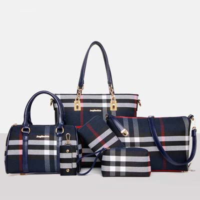 6600 Classic Pattern 6 in 1 Bag (Blue)