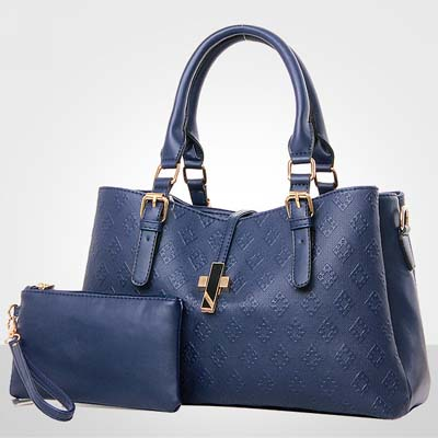 6608 2 in 1 Elegant Multi Layer Handbag (Dark Blue)