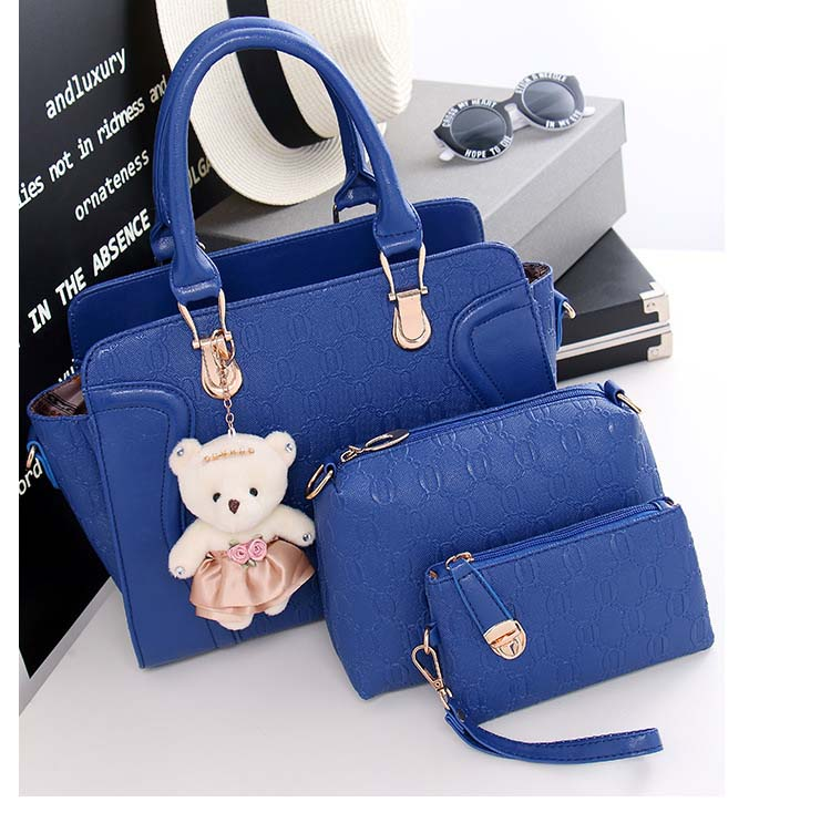 6615 4 in 1 Elegant Bag With Bear (Blue)