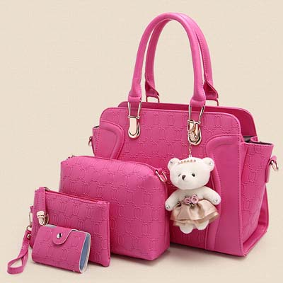 6615 4 in 1 Elegant Bag With Bear (Rose)