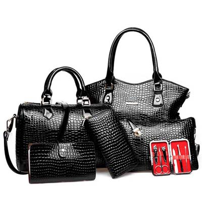 6622 6 in 1 Crocodile Skin Bag (Black)