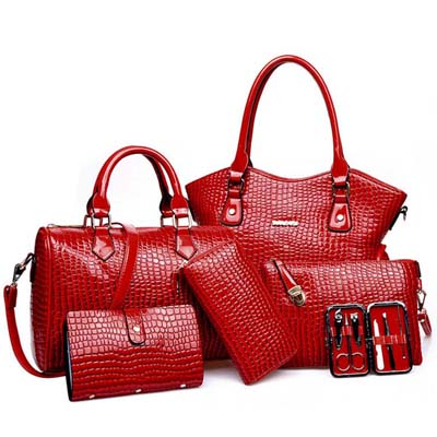 6622 6 in 1 Crocodile Skin Bag (Red)