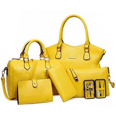 6622 6 in 1 Crocodile Skin Bag (Yellow)