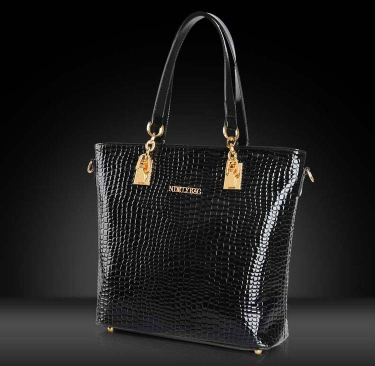 6717 6 in 1 Crocodile Skin Bag (Black)