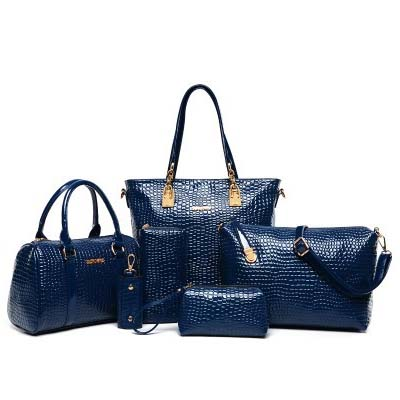 6717 6 in 1 Crocodile Skin Bag (Dark Blue)