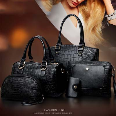 6718 5 in 1 Crocodile Skin Bag (Black)
