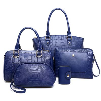 6718 5 in 1 Crocodile Skin Bag (Blue)