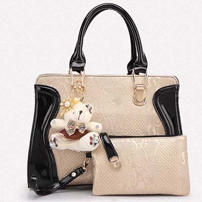 6738 Fashion Elegant 2 in 1 Handbag With Bear (Gold)