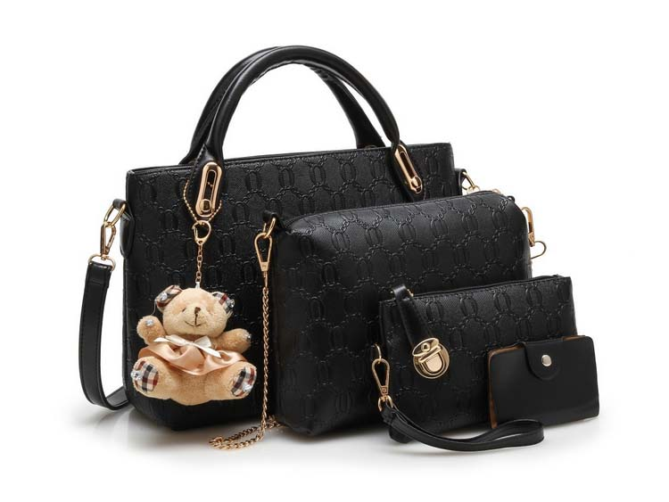 Fashion 4 in 1 Handbag With Bear and Gold Chain (Black)