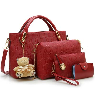 Fashion 4 in 1 Handbag With Bear and Gold Chain (Maroon)