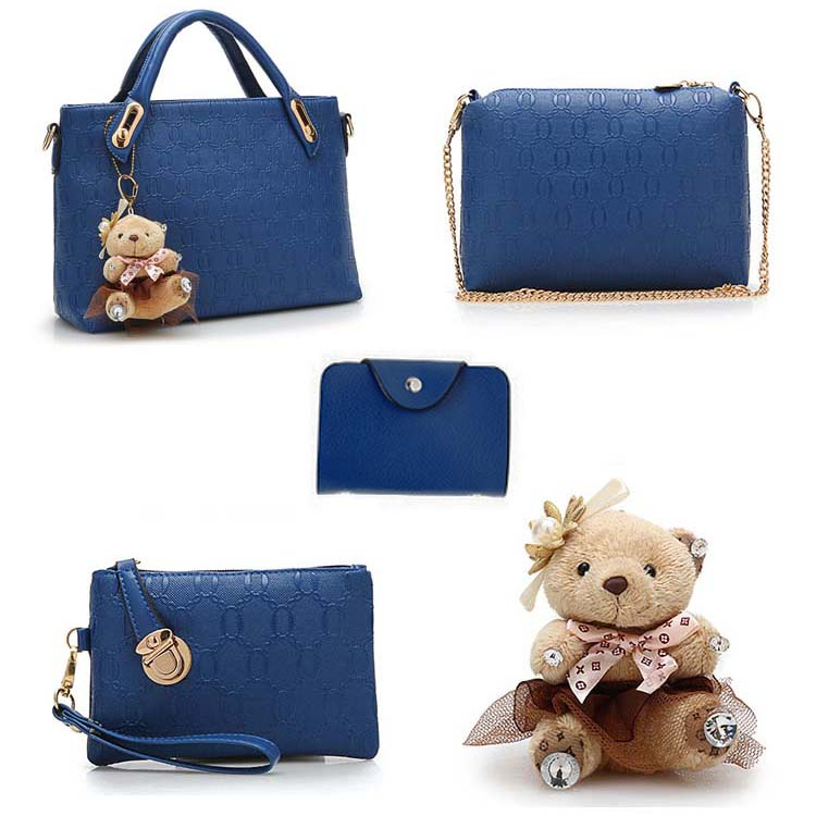 Fashion 4 in 1 Handbag With Bear and Gold Chain (Purple)