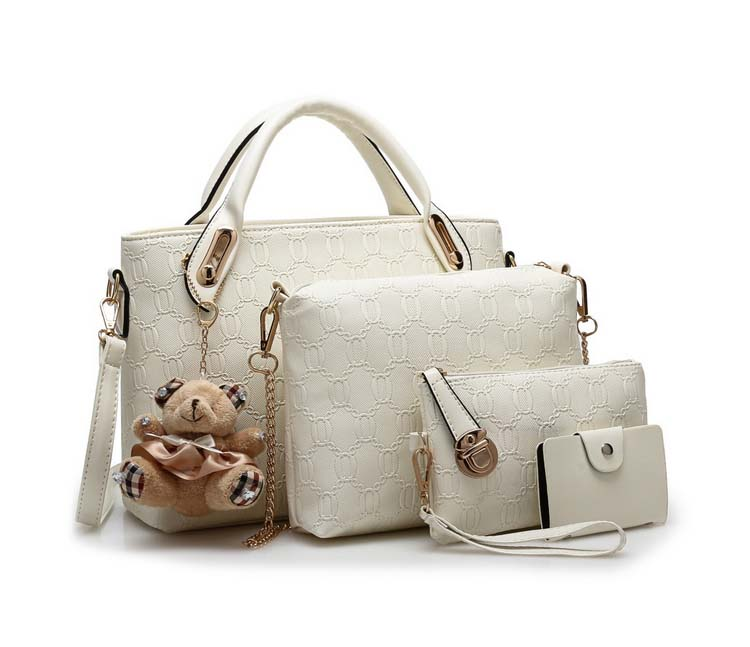 Fashion 4 in 1 Handbag With Bear and Gold Chain (White)