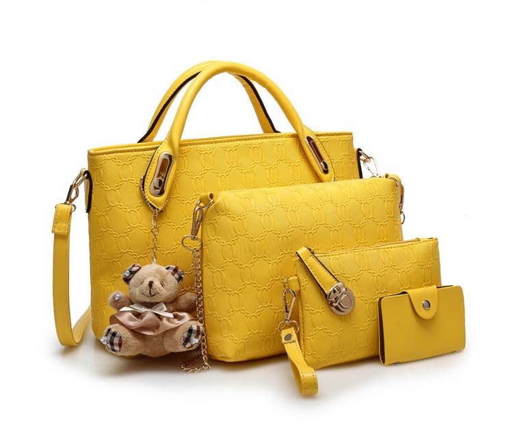 Fashion 4 in 1 Handbag With Bear and Gold Chain (Yellow)