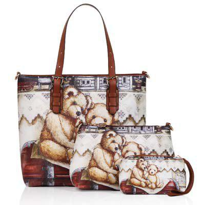 6798 3 in 1 Handbag with printed bear