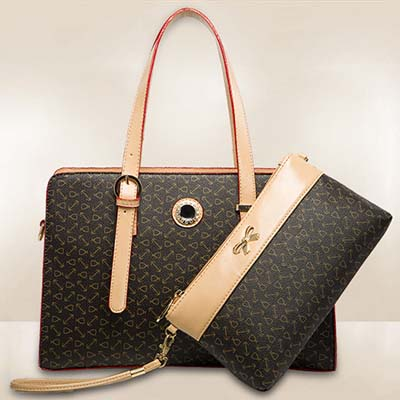 6802 Elegant Pattern 2 in 1 Bag (Coffee)