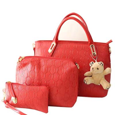 Fashion 3 in 1 Bag With Bear (Red)