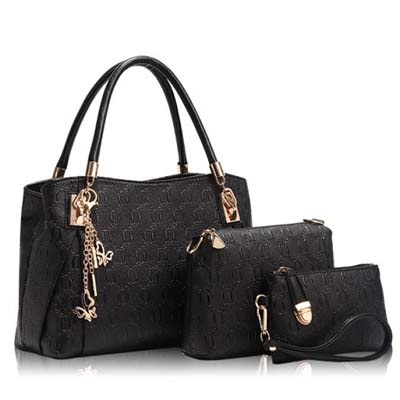 6836 Elegant 3 In 1 Handbag Black