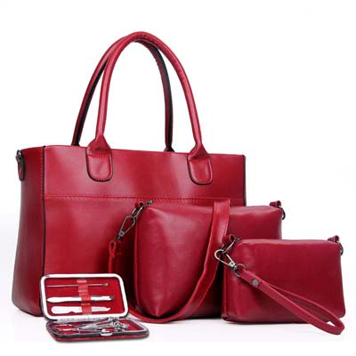 Fashion 4 in 1 Handbag (Maroon)