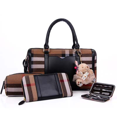 Fashion 4 in 1 handbag with bear (Black)