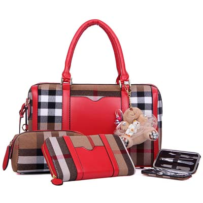 Fashion 4 in 1 handbag with bear (Red)