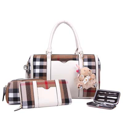 Fashion 4 in 1 handbag with bear (White)