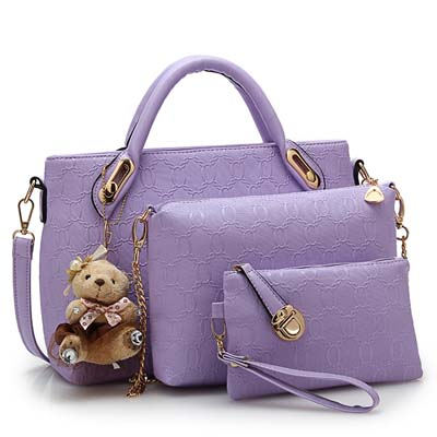 Fashion 3 in 1 Handbag With Bear and Gold Chain (Purple)