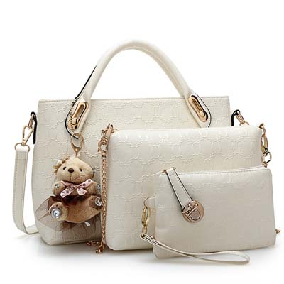 Fashion 3 in 1 Handbag With Bear and Gold Chain (White)