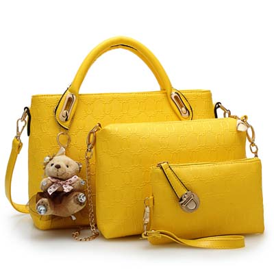 Fashion 3 in 1 Handbag With Bear and Gold Chain (Yellow)
