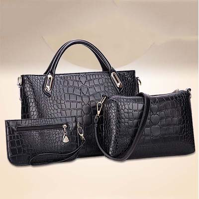 6886 Fashion 3 in 1 Handbag (Black)