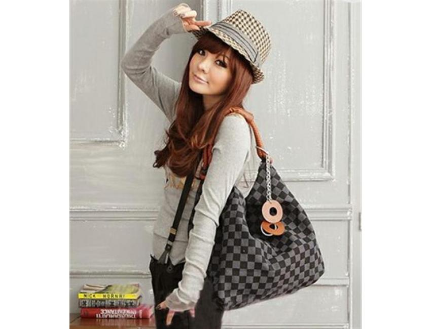 1033 YoYOo Style Chequer SHOULDER BAG (Khaki)
