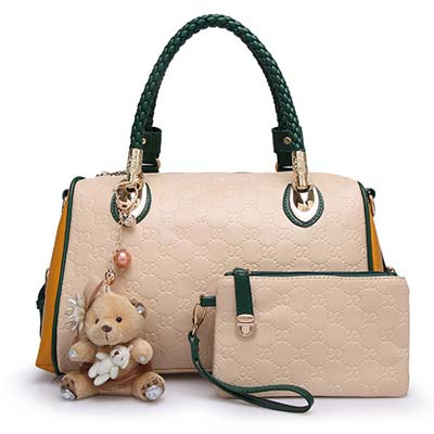 7499 Fashion 2 in 1 Bag With Bear (Beige)