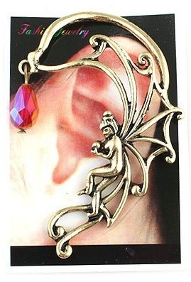 Fashion angel girl ear hook with red crystal